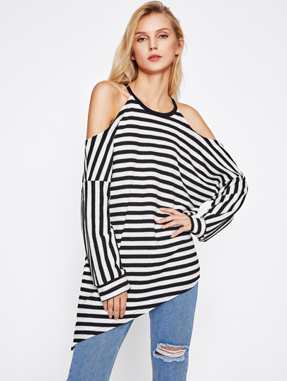 Open Shoulder Asymmetric Striped Top