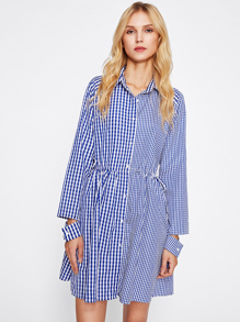 Open Cuff Drawstring Waist Mixed Gingham Shirt Dress