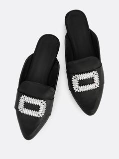 Metallic Buckle Loafers BLACK
