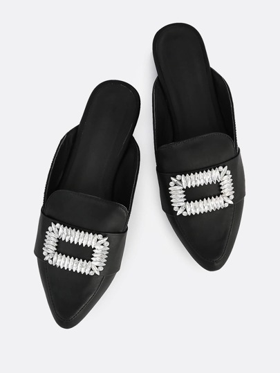 Metallic Buckle Loafers BLACK