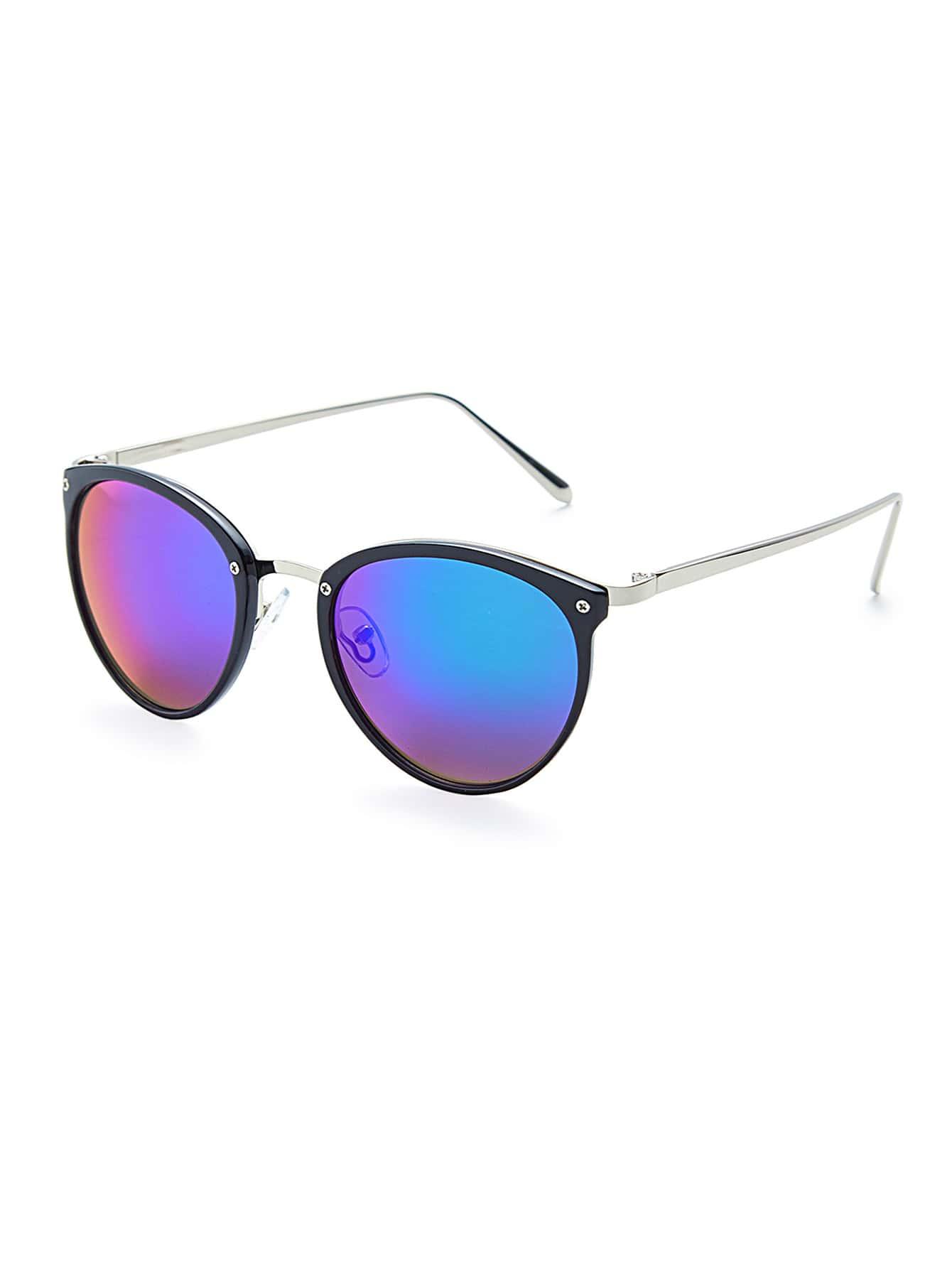 Skinny Frame Flash Lens Sunglasses