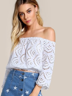 Lace Front Off Shoulder Top WHITE