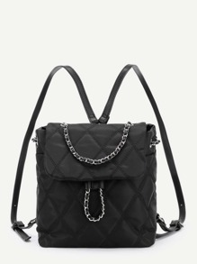 Chain Drawstring Quilted Nylon Backpack