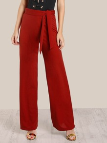 High Rise Front Tie Pants BRICK
