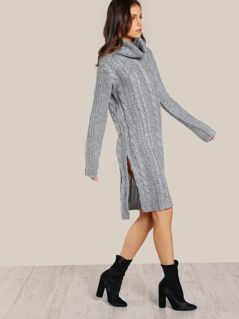 Turtleneck Ribbed Knit Dress GREY