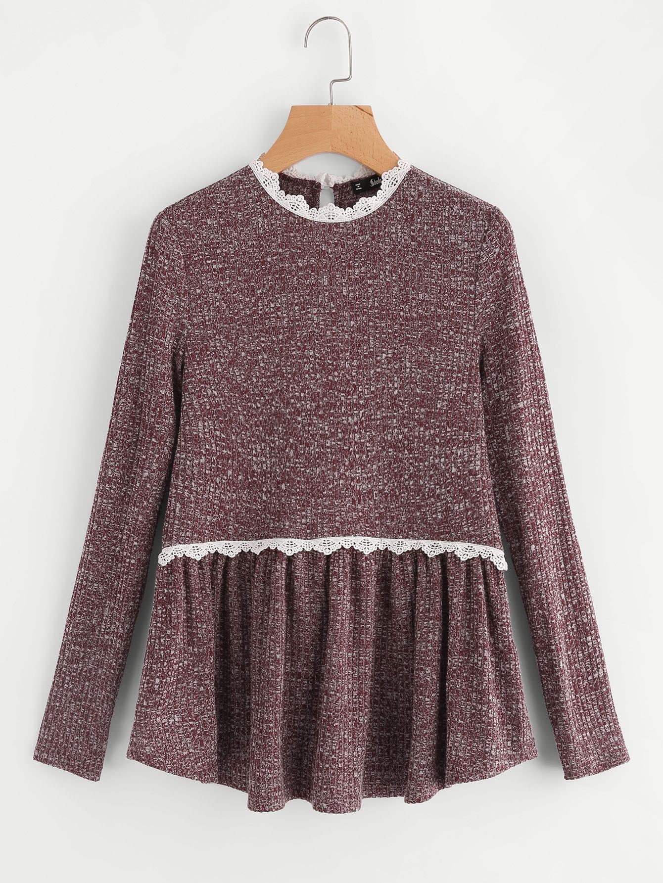 Lace Trim Marled Knit Smock Tee tee170808701