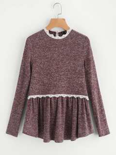Lace Trim Marled Knit Smock Tee