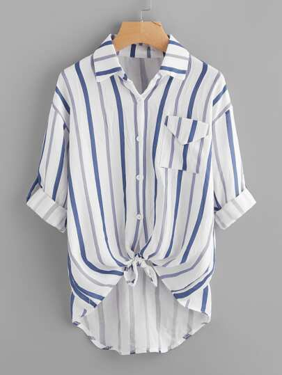 Drop Shoulder Rolled Sleeve Knotted Hem Striped Shirt