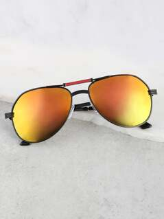 Reflective Aviator Sunnies ORANGE