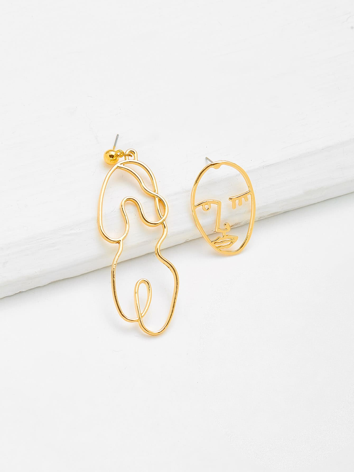 Abstract Open Face Design Drop Earrings two tone face design drop earrings