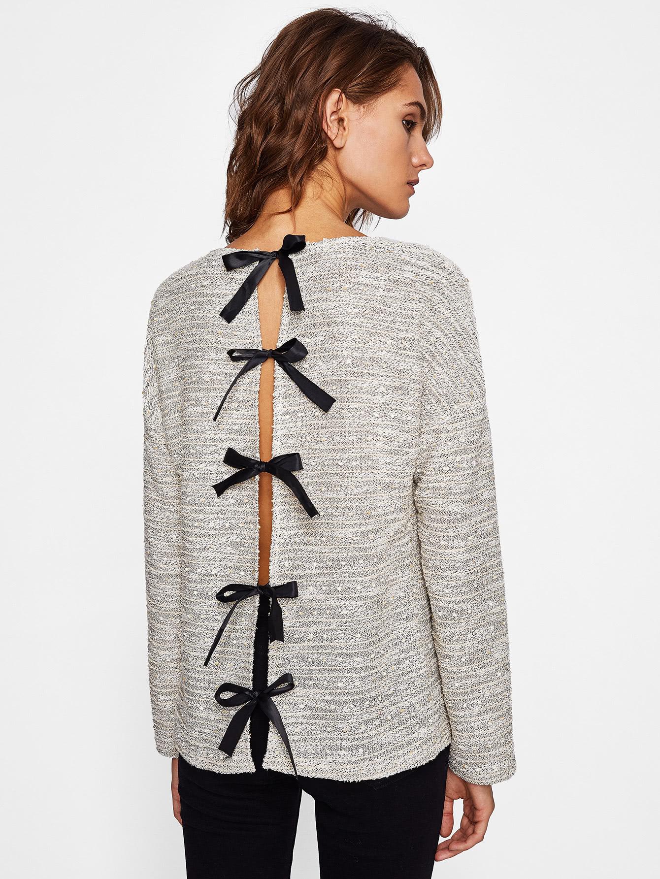 Slit Bow Back Knit Top