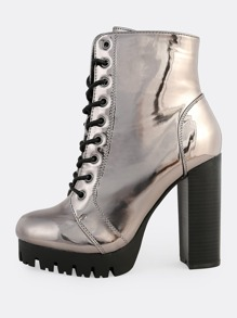 Patent Lace Up Textured Sole Boots PEWTER