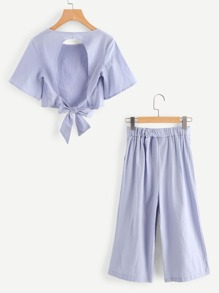 Cut Out Back Self Tie Top And Pants