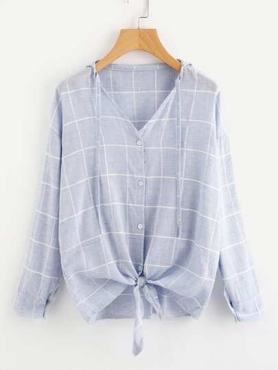 V Neckline Checked Knot Front Blouse