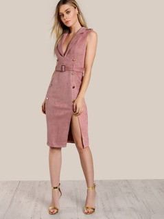Sleeveless Velvet Gold Accent Dress BLUSH