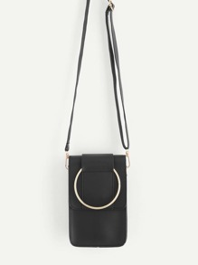 PU Flap Pouch Bag With Ring Handle