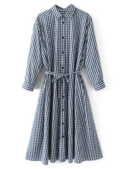 2 In 1 Self Tie Gingham Shirt Dress
