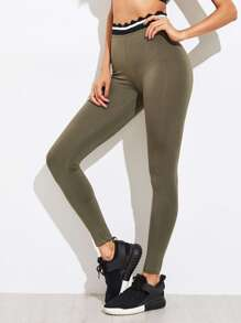 Scallop Striped Waist Leggings