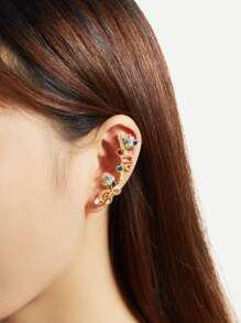 Rhinestone Decorated Charm Ear Climber 1pc