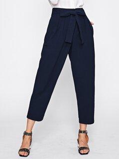 Bow Tie Waist Box Pleated Peg Pants