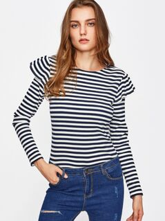 Ruffle Embellished Rib Knit Striped Top