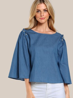 Pleated Sleeve Pearl Applique Top INDIGO