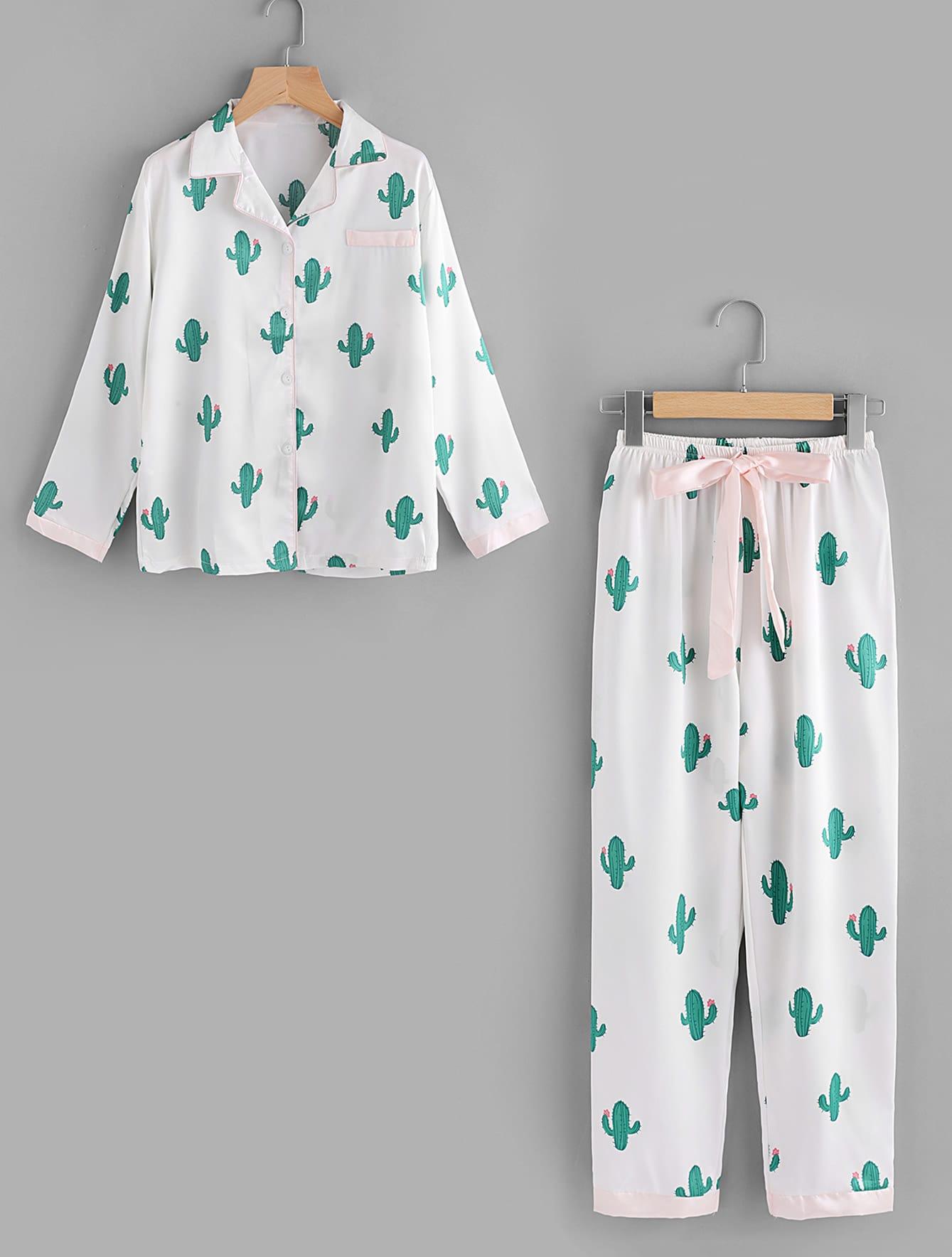 Cactus Print Top And Drawstring Waist Pants cactus print top and drawstring waist pants
