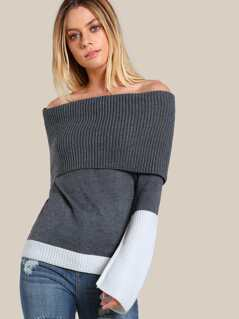Two Tone Off Shoulder Sweater GREY