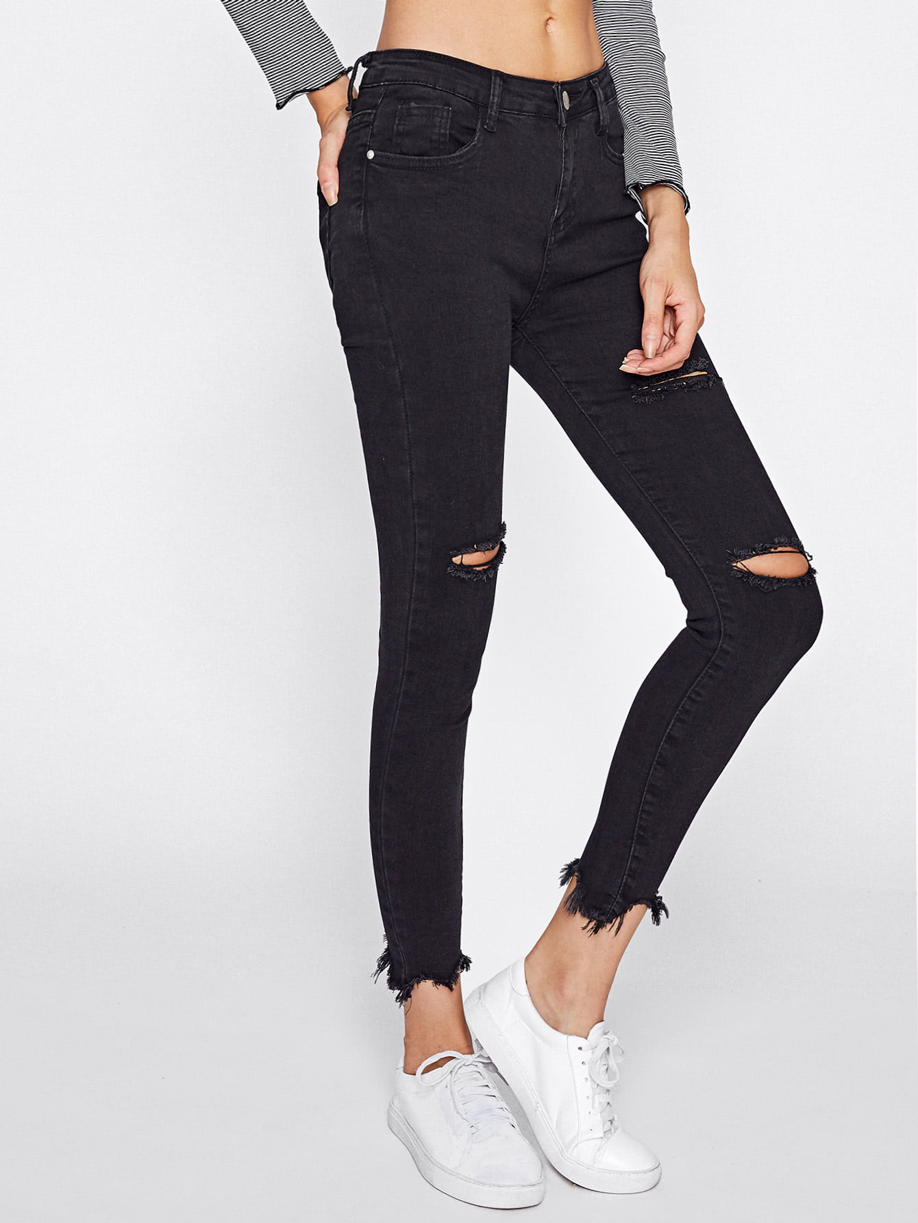 Distressed Frayed Hem Skinny Jeans embroidered distressed skinny jeans