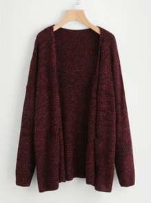 Drop Shoulder Marled Knit Cardigan