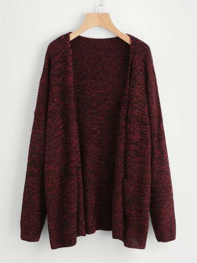 Drop Shoulder Marled Knit Cardigan