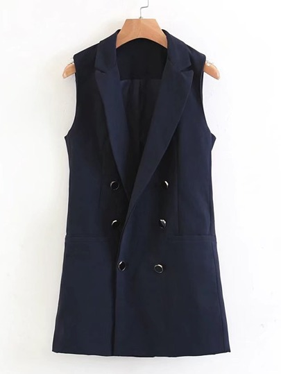 Double Breasted Longline Vest Coat