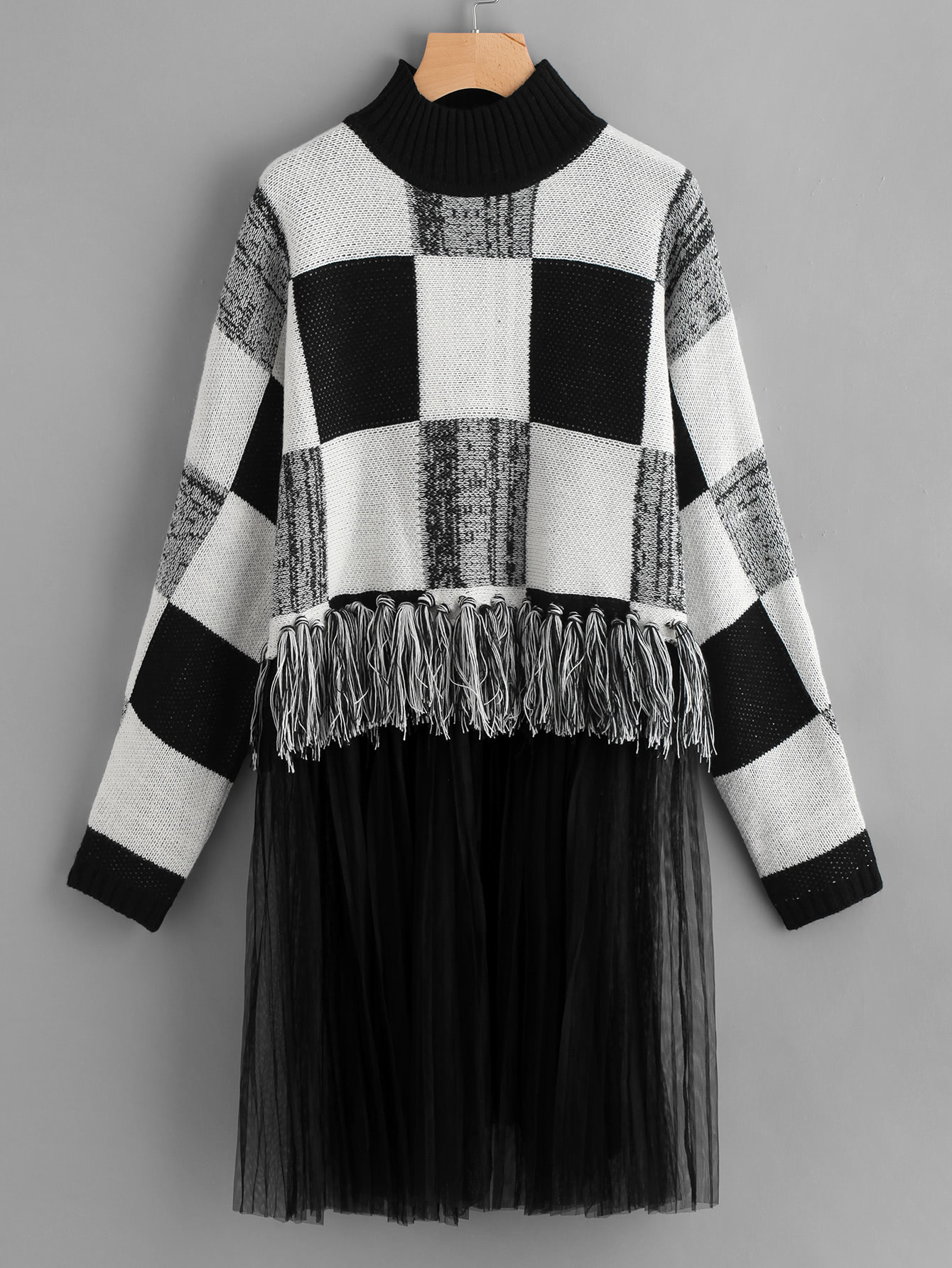 Mesh And Knot Fringe Trim Check Sweater mesh and knot fringe trim check sweater