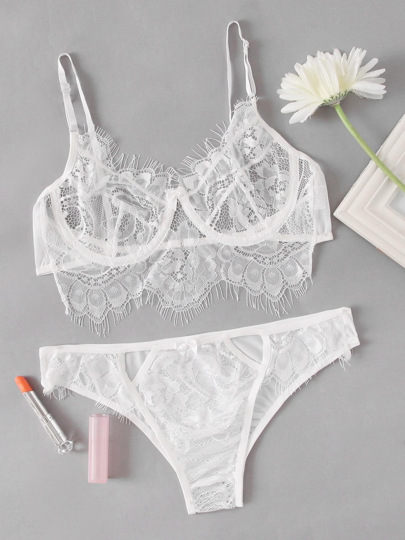 Eyelash Lace Lingerie Set