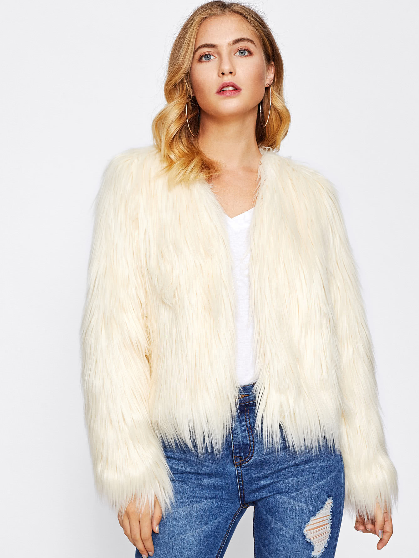 Fluffy Faux Fur Coat