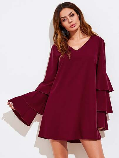 V-neckline Tiered Flute Sleeve Dress