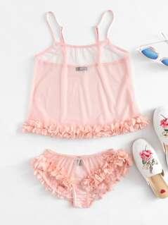 Flower Applique Mesh Cami Top And Panty Pajama Set