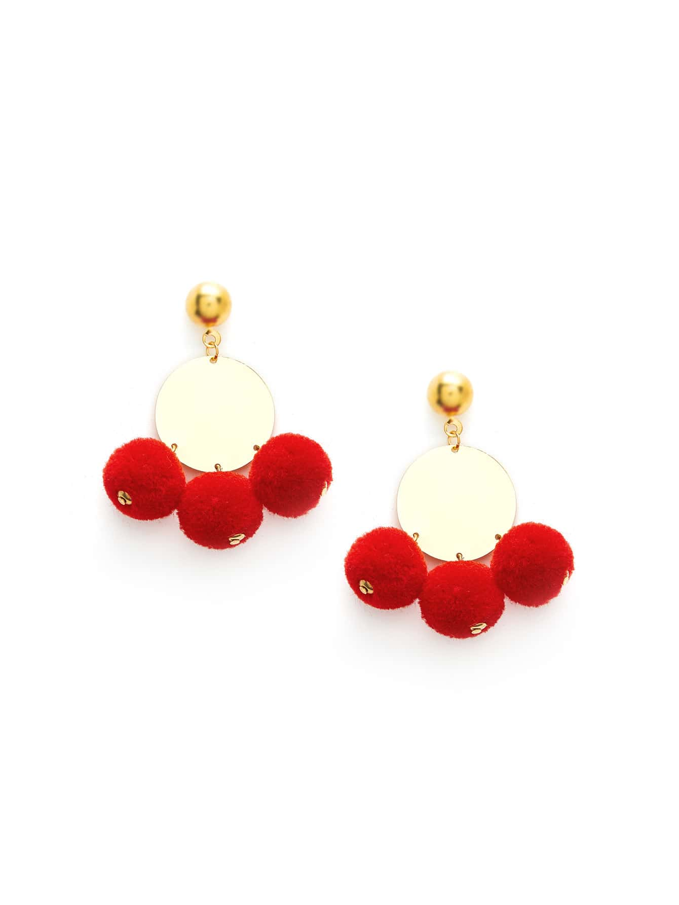 Three Pom Pom Design Drop Earrings