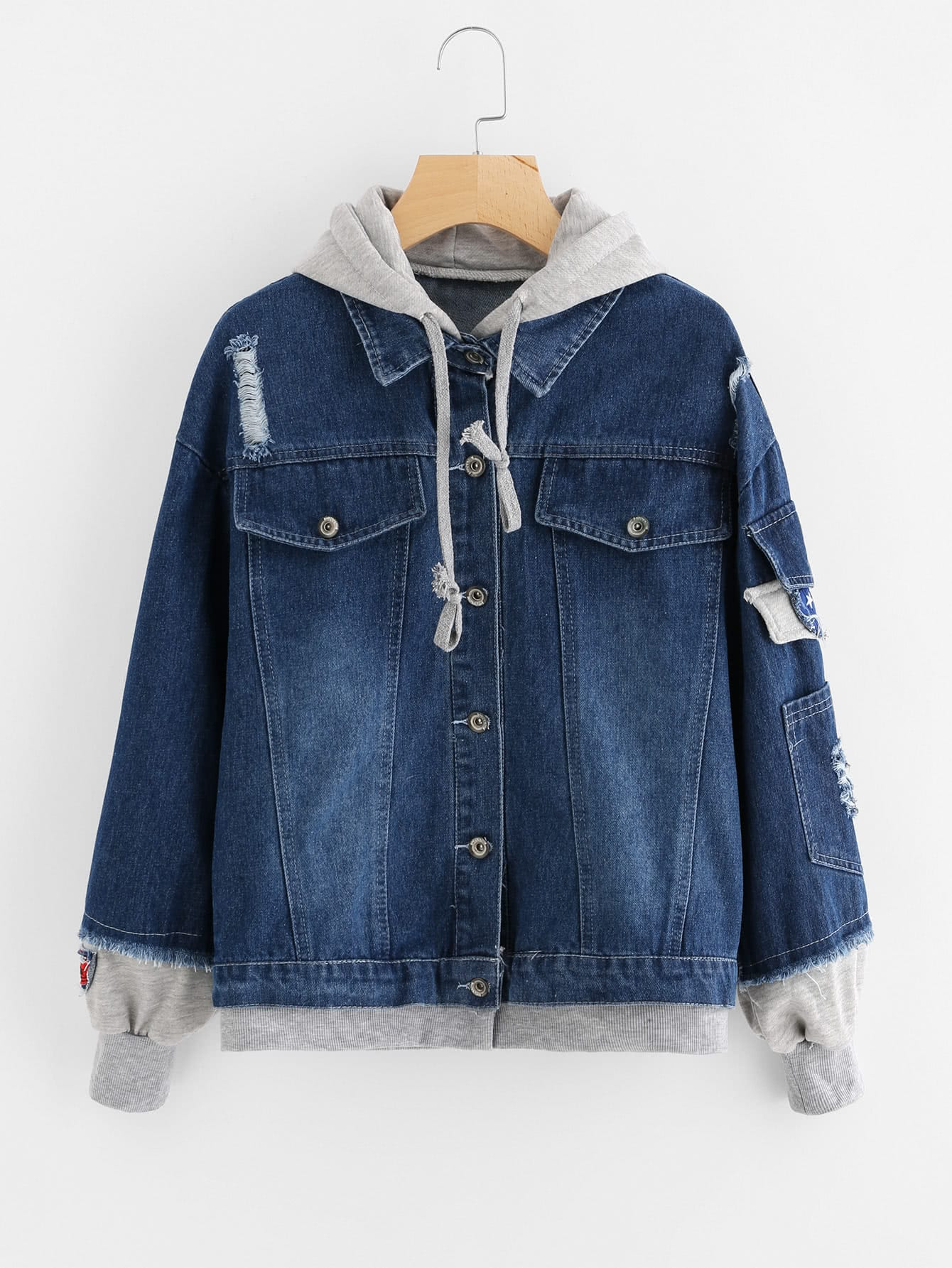 2 In 1 Hooded Denim Jacket champion hooded jacket