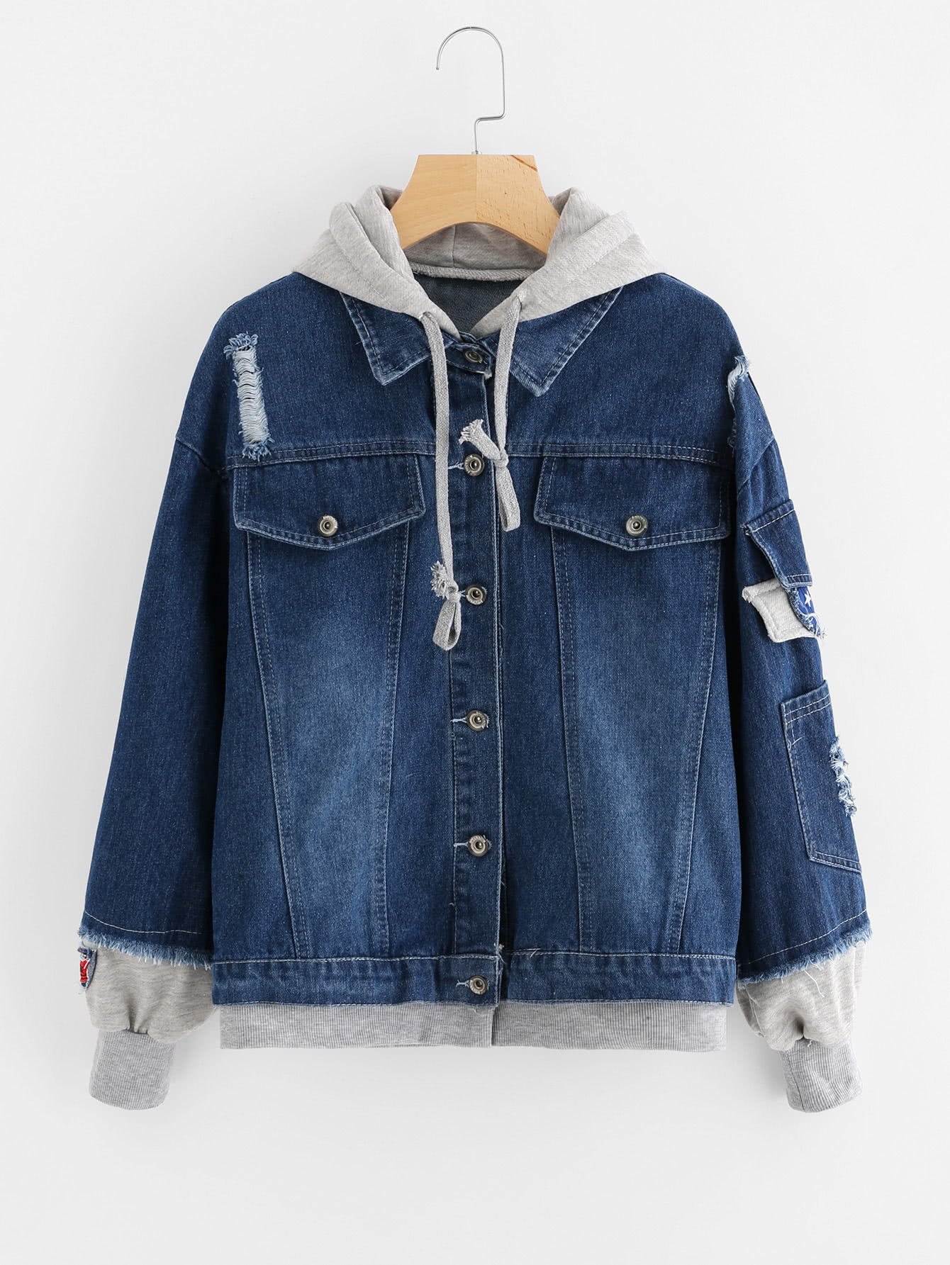 Image of 2 In 1 Hooded Denim Jacket