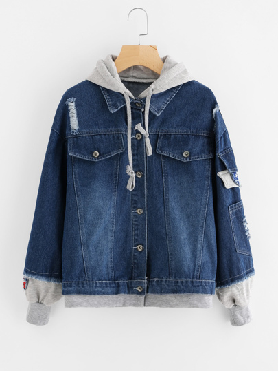 2 In 1 Hooded Denim Jacket