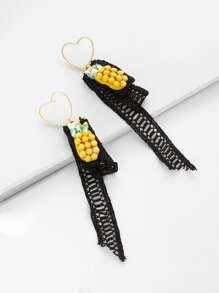 Boucles d\'oreille en forme de cœur et ananas en strass