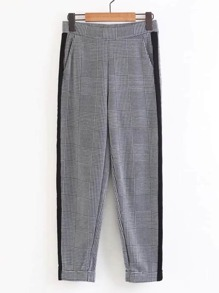 Contrast Tape Rolled Cuff Gingham Pants