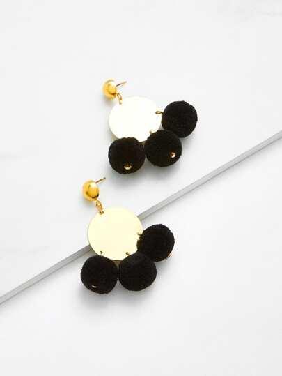 Pom-pom Disc Earrings