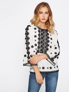 Floral Lace Applique Embroidered Top