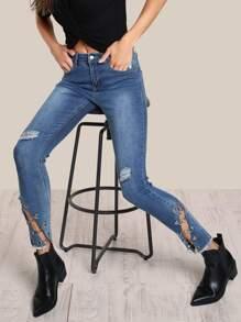 Chain Link Distressed Skinny Jeans DENIM