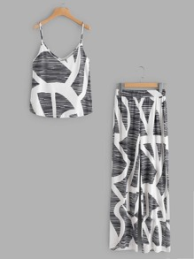Abstract Print Cami Top With Pants
