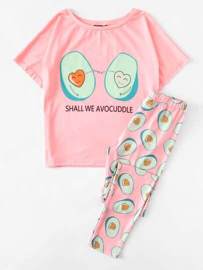 Cartoon Avocado Print Tee And Pants Pajama Set