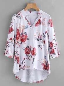 Tee-shirt trapèze imprimé fleuri
