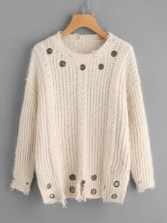 Eyelet Detail Cable Knit Distressed Jumper